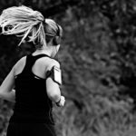 woman running with phone
